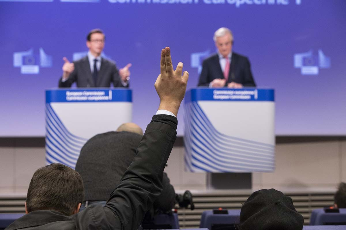Barnier at EU commission press conference