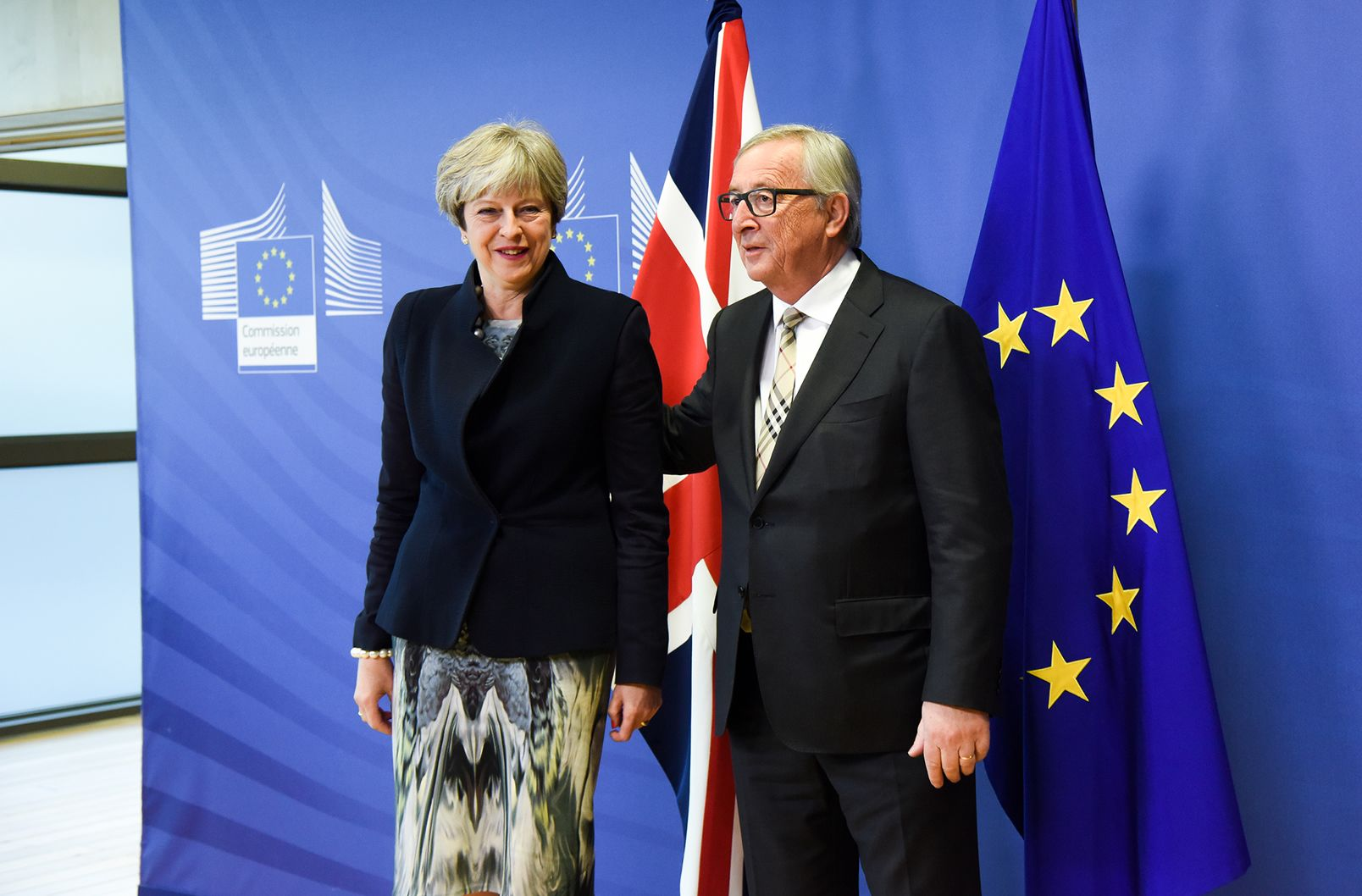 Juncker and May at the European Commission