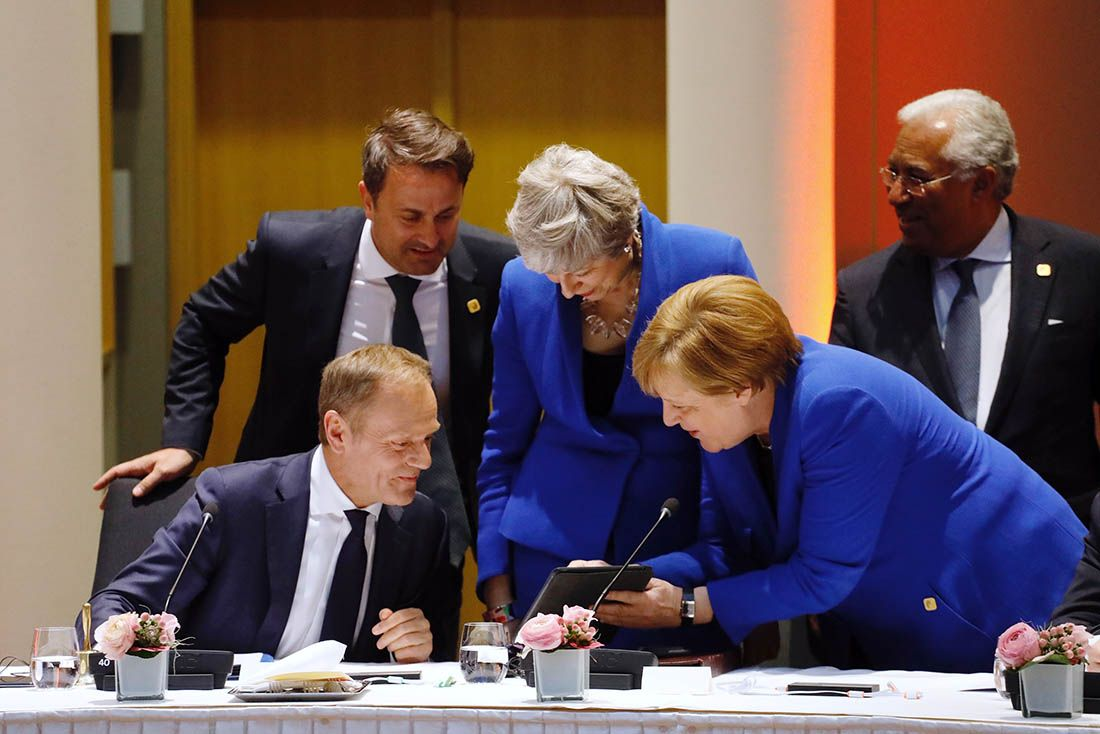 Tusk May and Merkel at EU leaders' summit